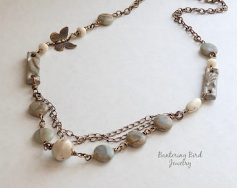 Pale Blue Beaded Necklace, Jasper Natural Stone with White Ceramic, Brass Butterfly and Chain, Asymmetrical Multi Strand, Mother's Day Gift
