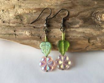 Pink Dainty Flower Earrings, Flower Girl Earrings, Easter Spring Jewelry