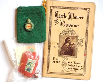 2 Rare Agnus Dei Relics and 1925 Saint Therese Novena - Antique Handmade Devotionals Lot - Saint Teresa, The Little Flower