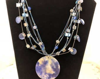 Multi-strand Beaded Necklace with Circular Blue/White Pendant on Siver Wire/Chain
