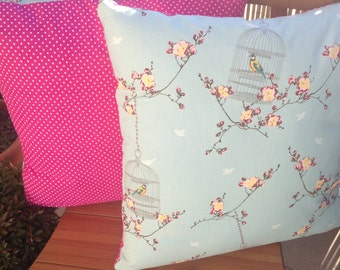 Decorative Throw Pillow, Spring Cherry Blossom with Bird Cage, White Polka Dots on Pink, Cushion, Throw Pillow, Couch Bed Pillow