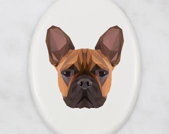 A ceramic tombstone plaque with a French Bulldog dog. Art-Dog geometric dog