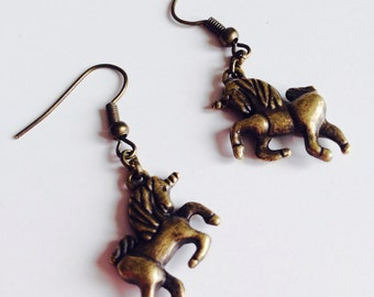 Sale | Unicorn | Equestrian | Vintage Style | Retro | Earrings
