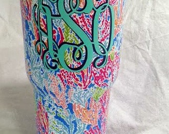 Lilly Pulitzer Monogram 30 oz Stainless Steel Tumbler, Lilly tumbler, Lilly Print Tumbler, Water bottle, personalized Lilly custom cup