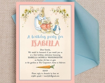Personalised Flopsy Bunnies Beatrix Potter Kids Party Invitation Cards and Envelopes