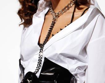 Black Patent Leather Corset Belt w. Chain Choker Harness - Elegant High Waist Belt BDSM - Gothic Glam Corsage - Punk Cincher Belt - FATALE