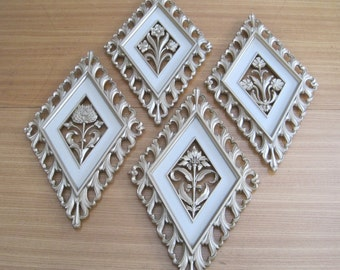 Floral Wall Plaques, Set of 4, Dart, Made in USA, 1964, Vintage, Mid Century