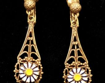 Pretty Brass Filigree Drop Earrings - 1960s