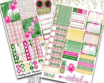 Summer Palms Planner Stickers - Planner stickers - Fits Erin Condren Life Planner - Tropical Getaway Stickers - Vacation sticker - pineapple