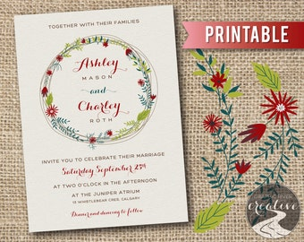 PRINTABLE Rustic Floral Wreath Wedding Invitation, Personalized Custom Colour Wedding Invite Country Farmhouse Boho Aged Paper, Digital File