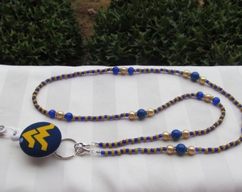 West Virginia ID Badge Lanyard Blue & Gold Beaded ID Badge Holder