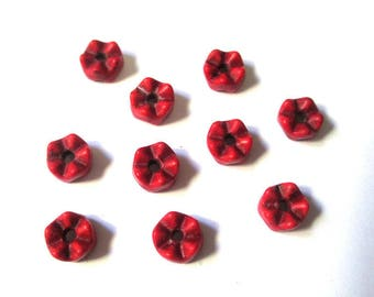 10 spacer 6x4mm red howlite beads