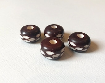 10 x 20mm Puff Large Hole Carved Horn Beads