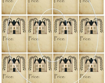 PRIMITIVE PRICE TAGS Craft Use or Yard Sale Tea Stained with Willow tree and Salt Box House Instant Download You Print