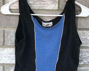 80s blue race crop top athletic top
