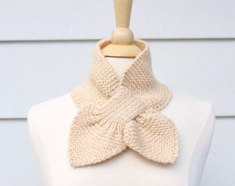 Light beige ascot scarf, knit keyhole scarf, keyhole knit scarf, light beige knit scarf, light beige scarf, knit winter scarf