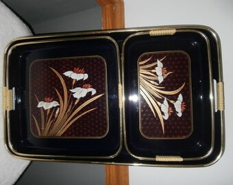 Serving Tray - Set of  THREE Vintage Black Lacquer Trays Japanese Floral Vintage Japan