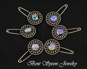Dichroic glass Brass Shawl Pin, Blanket pin, Scarf Pin, Kilt pin