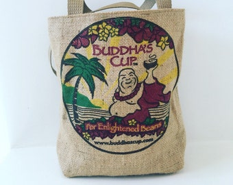 Buddha's Cup Mini Tote/ Lunch Bag/ Girls Tote/ Kona Coffee Sack