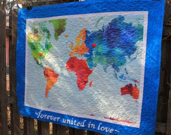Custom World Map Quilt // Gender Neutral Quilt // Toddler Quilt // Baby Quilt // Baby Boy Quilt // Baby Girl Quilt // Baby Gift