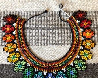 Beaded tribal  bib necklace ~ floral