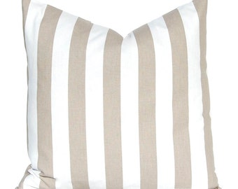 Decorative Pillow Cover - Tan Stripe Pillow Cover - Throw Pillow Cover - Tan Pillow Cover - Taupe Cushion Covers -Tan Cushion Cover