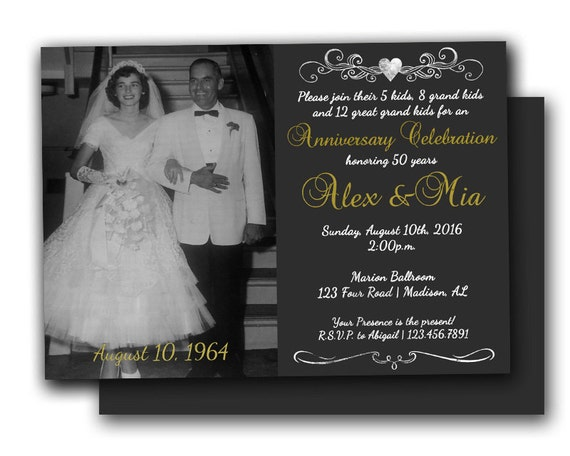 Photo 50th anniversary invitations chalk golden wedding