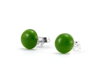 Jade Button Earrings/ Green Jade Earrings/ Jade Post Earrings/ Jade Button Studs/ Green Jade Studs