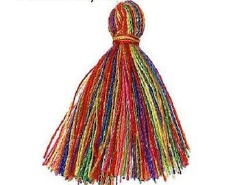 10 tassels cotton yarn multicolored 2 cm