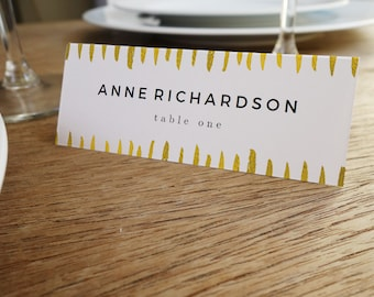 Printable Place Cards - Place Card Template - Instant Download - Black and Gold Place Card - Place Card PDF - Gold Strokes - Escort Card PDF