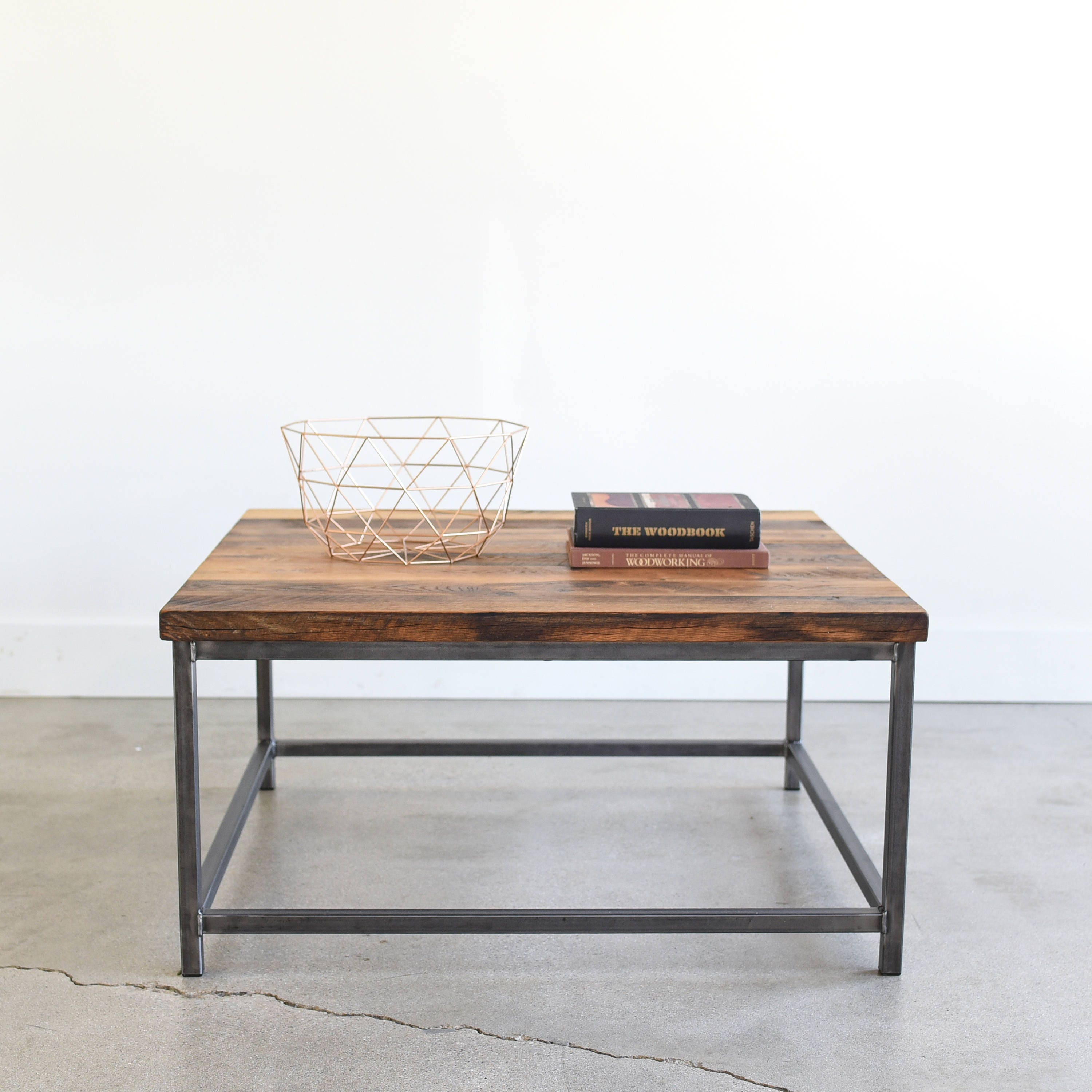 Square Coffee Table Rustic Reclaimed Wood and Steel Box