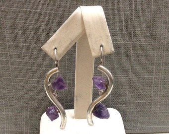 Vintage Handmade Sterling Silver Earring With Purple Amethyst!!!  Free US Shipping!!!