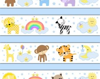 safari animal decal wallpaper border baby nursery wall art