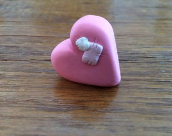 Polymer Clay Chunky Pink Valentine Heart