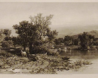 ANTIQUE The HOUSATONIC  View Original steel Engraving 1800s 12 3/8 x 9 1/2  in Ready to frame