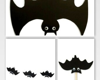 Halloween Decoration Set, Halloween bat decorations, bat cupcake toppers, bat garland, bat home decor, halloween party decoration, black bat