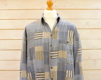 Vintage Cord Patchwork Print Shirt  Size - Extra Large