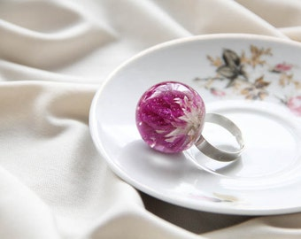 Gomphrena Resin Ring, Flower Resin Ring, Botanical Preserved Flower Ring, Nature inspired Ring, Real Flower Resin Ring