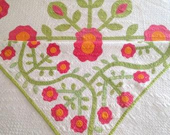 Antique Quilt with Red Flowers, Applique Quilt, Red and Cheddar Orange Quilt, Antique Applique Rose Wreath Quilt