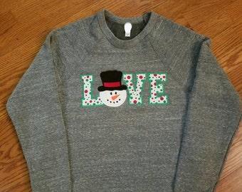 LOVE snowman applique