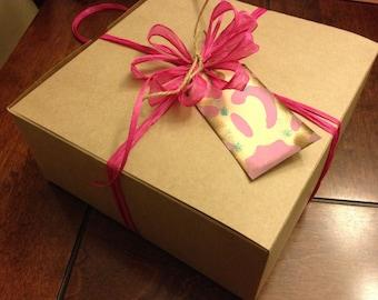 Kraft gift box/ 10.5x10.5x2.5 inches/ set of 20