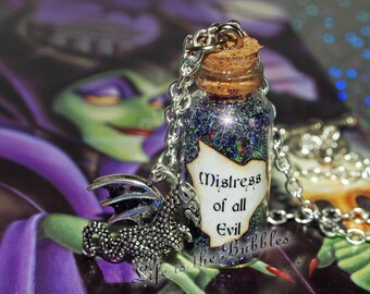 Mistress of All Evil Necklace with a Dragon Charm, Maleficent Magical Disney Jewelry  Villain Necklace, Once Upon a Time Necklace