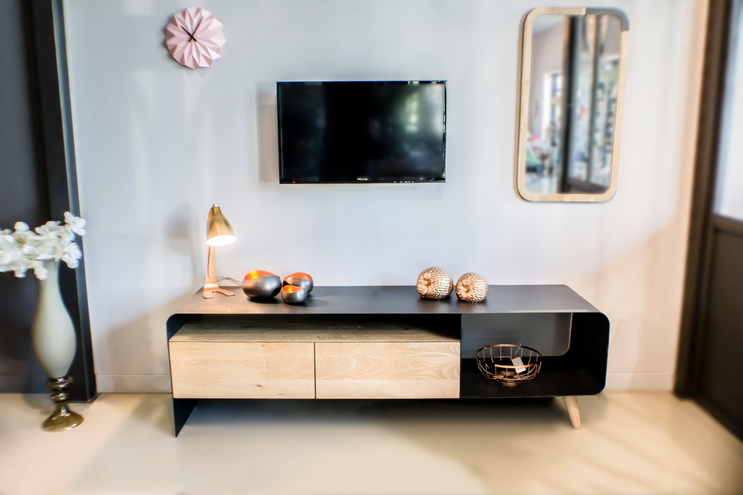 Meuble Tv Collection L L M Tal Et Bois Iron Steel And Wood  # Meuble Tv Triangulaire