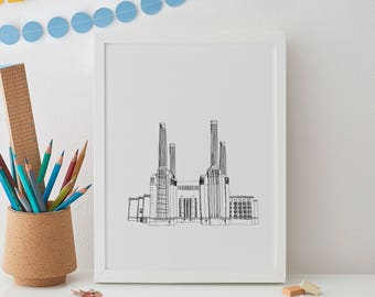 London Battersea Print, london print, gift for him, architecture, london wall art, home decor, london art, london skyline, london art,