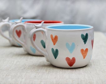 Large Tea Cups with Colorful Hearts Romantic Mug for Her Ceramic Pottery Mug with Bird, Red and Blue Heart, Engaged Mugs Set Engagement Gift