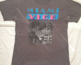 Miami Vice Gray Vintage T-Shirt W/Logo and Palms