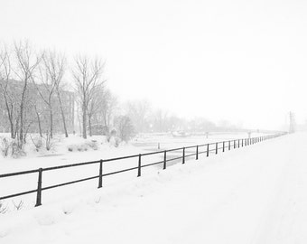 Lachine Canal Snowstorm - Winter - Black & White - Montréal - Fine Art Print - Photograph - Wall Art - Decor