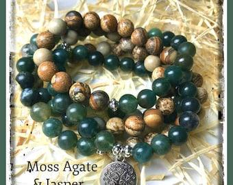 Moss Agate Mala, Jasper Mala, Rosary, Healing crystals, tree of life, meditation jewelry, meditation beads, zen, prayer beads, 108 bead