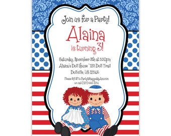 Raggedy Ann Invitation - Blue Damask, Red Stripe, Raggedy Ann and Andy Dolls Personalized Birthday Party Invite - a Digital Printable File