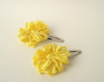 Flower Hair Clips, 2 yellow daisies for your hair